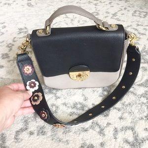 Emma Fox genuine leather floral shoulder bag